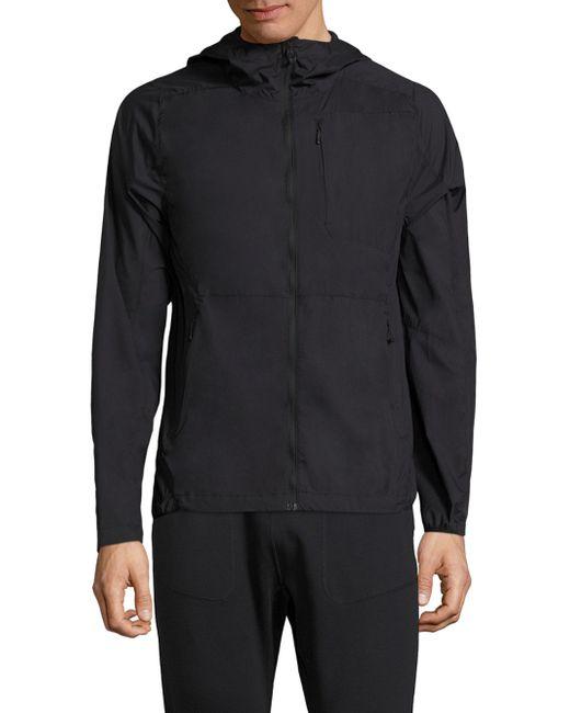 J.Lindeberg - Black Windbreaker Hooded Jacket for Men - Lyst