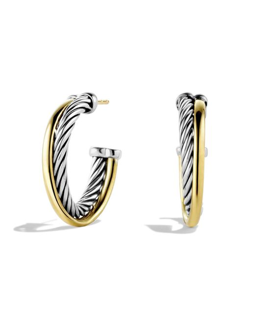 David Yurman - Metallic 18k Yellow Gold & Sterling Silver Crossover Hoop Earrings/1 - Lyst