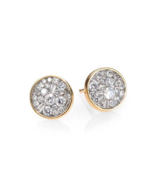 Plevé | Metallic Ice Diamond & 18k Yellow Gold Stud Earrings | Lyst