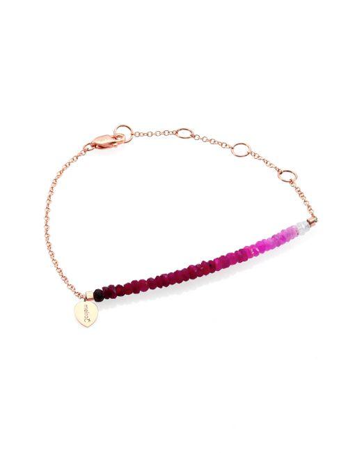 Meira T - Metallic Ruby & 14k Rose Gold Gradient Beaded Bracelet - Lyst