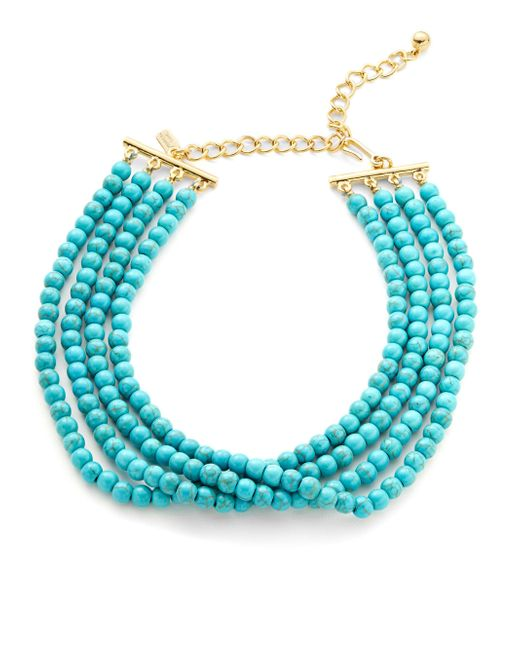 Kenneth Jay Lane - Blue Turquoise Beaded Choker Necklace - Lyst
