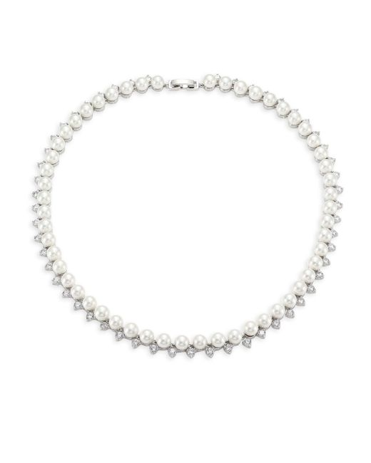 Fallon Metallic Shell Pearl Pave Collar Necklace