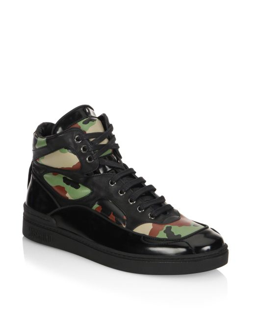 Moschino | Black Camo Leather High Top Sneakers for Men | Lyst