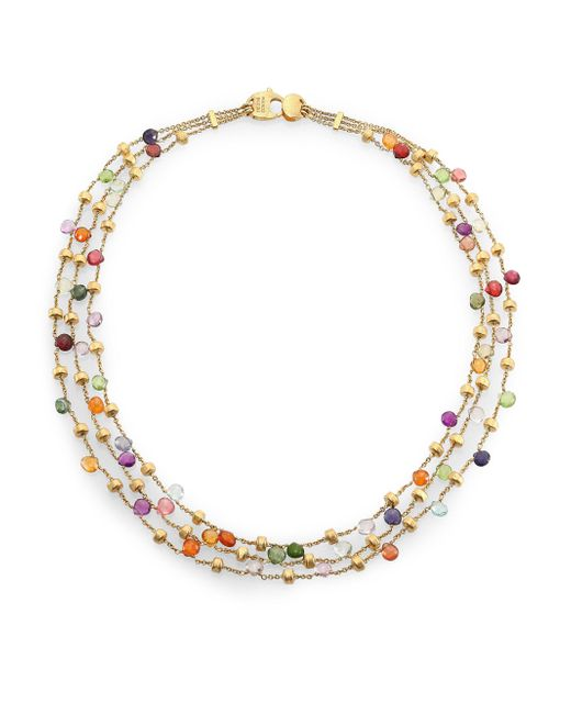 Marco Bicego   Metallic Paradise Semi-precious Multi-stone & 18k Yellow Gold Three-row Necklace   Lyst