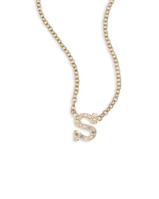 Zoe Chicco Metallic Pavé Diamond & 14k Yellow Gold Initial Pendant Necklace