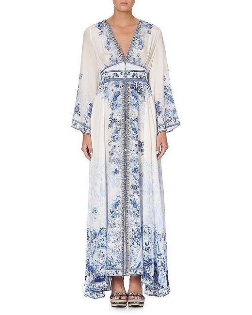Camilla Blue Kimono-sleeve Silk Dress