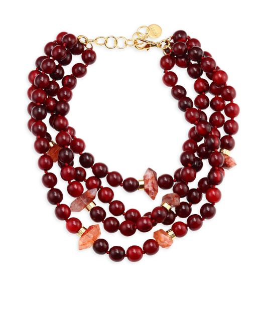 Nest | Red Horn & Quartz Statement Necklace | Lyst
