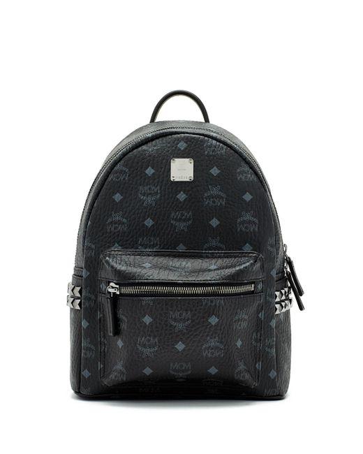 MCM - Black Mini Stark Studded Coated Canvas Backpack - Lyst