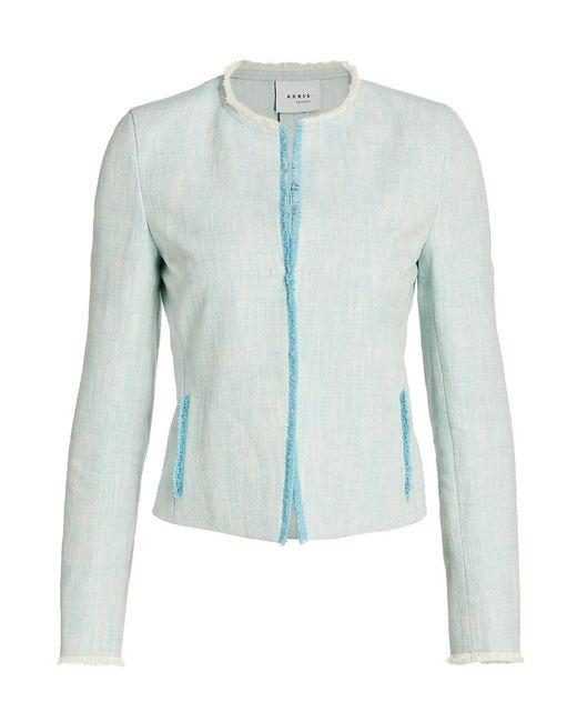 Akris Punto Blue Fringe-trimmed Jacket