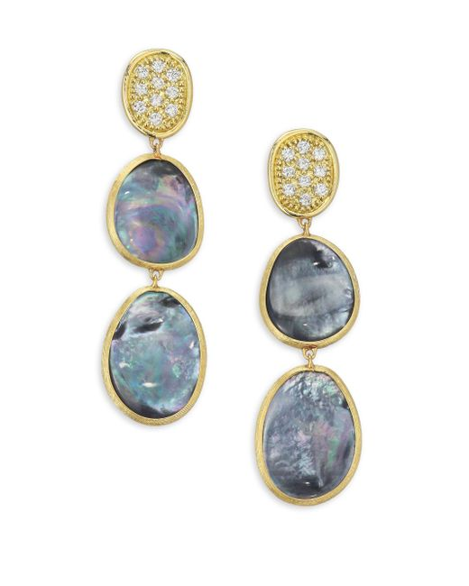 Marco Bicego - Multicolor Diamond Lunaria Triple Drop Earrings With Black Mother-of-pearl - Lyst