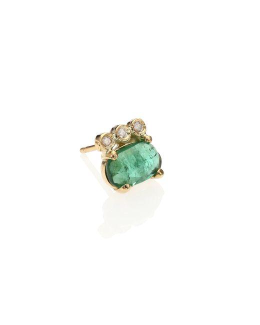 Jacquie Aiche - Green Tourmaline, Diamond & 14k Yellow Gold Three-bezel Single Stud Earring - Lyst