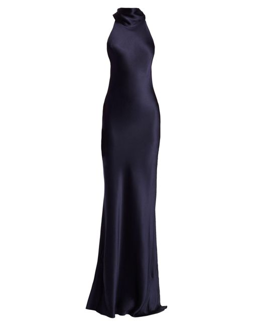 Galvan Blue Eve Silk-satin Halterneck Gown