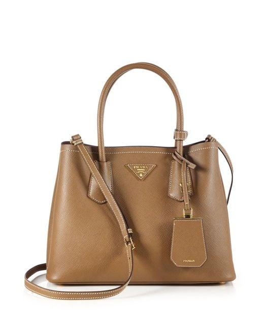 Prada - Brown Saffiano Cuir Small Double Bag - Lyst