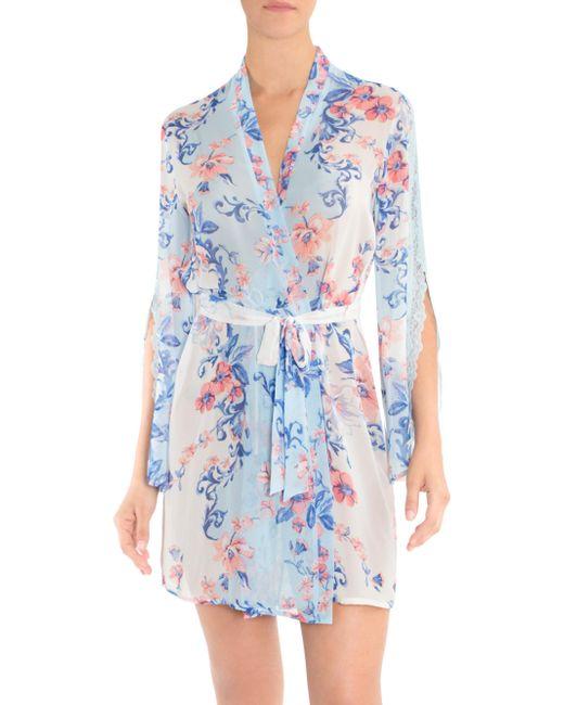 In Bloom - Blue Porcelain Rose Floral Wrap Robe - Lyst