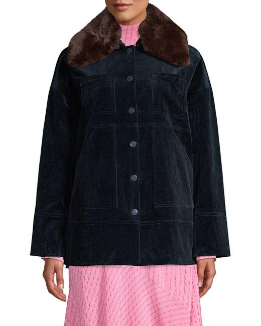 Ganni - Black Ridgewood Faux Fur Collared Corduroy Jacket - Lyst