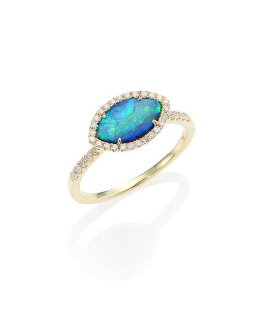 Meira T - Metallic Opal, Diamond & 14k Yellow Gold Marquise Ring - Lyst