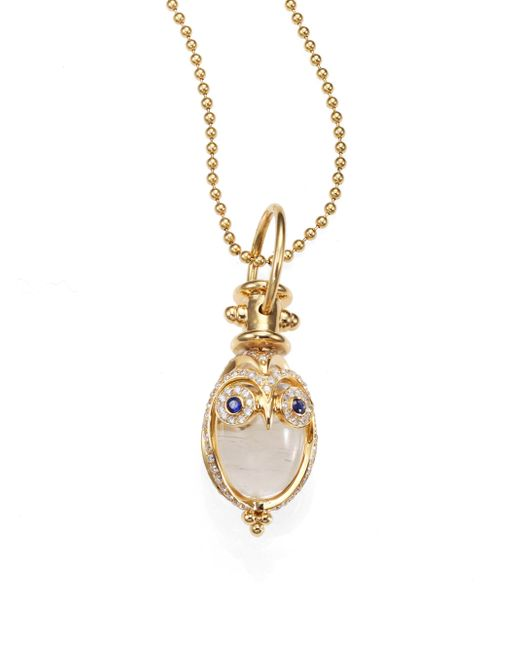 Temple St. Clair - Metallic Tree Of Life Rock Crystal, Diamond, Sapphire & 18k Yellow Gold Owl Amulet - Lyst
