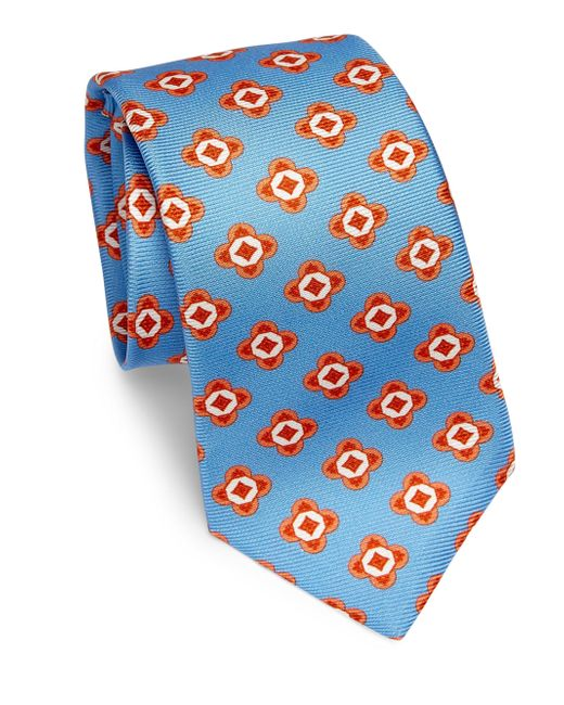 Kiton   Blue Large Geometric Floral Silk Tie for Men   Lyst