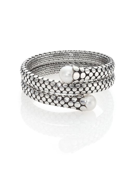 John Hardy - Metallic Dot 11mm White Pearl & Sterling Silver Double Coil Bracelet - Lyst
