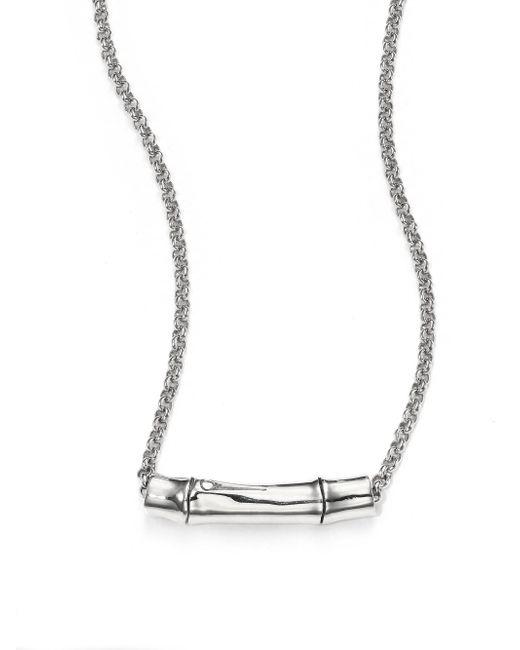 John Hardy | Metallic Bamboo Sterling Silver Slider Pendant Necklace | Lyst