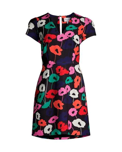 MILLY Black Atalie Poppy Print Sheath Dress