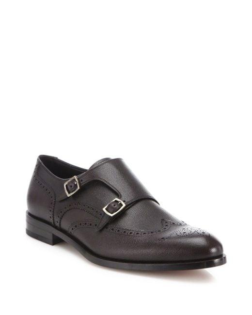 Ferragamo   Black Textured Wingtip Leather Monk Oxfords for Men   Lyst