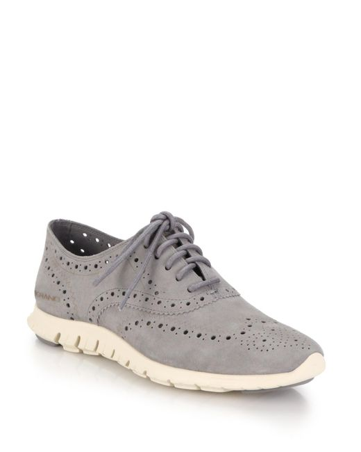 Cole Haan - Gray Zerogrand Suede Oxford Sneakers - Lyst