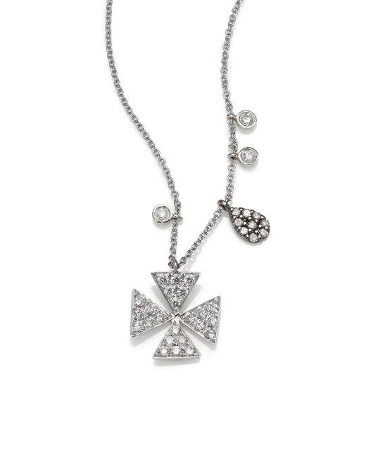 Meira T Metallic Diamond & 14k White Gold Cross Necklace