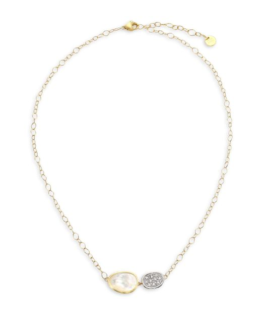 Marco Bicego - Metallic Lunaria 18k Gold Pave Diamond & Mother-of-pearl Necklace - Lyst