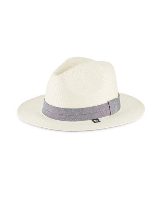 Block Headwear | White Straw & Chambray Panama Hat | Lyst
