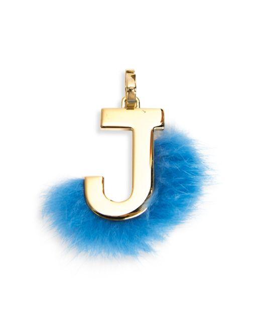 Fendi | Blue Mink Fur-trimmed Initial Charm | Lyst