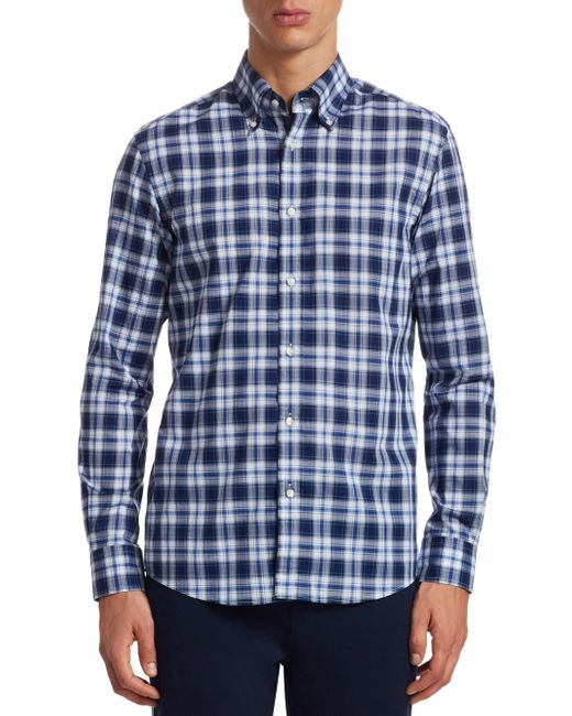 Ralph Lauren Purple Label | Blue Purple Label Cameron Tartan Button-down Shirt for Men | Lyst