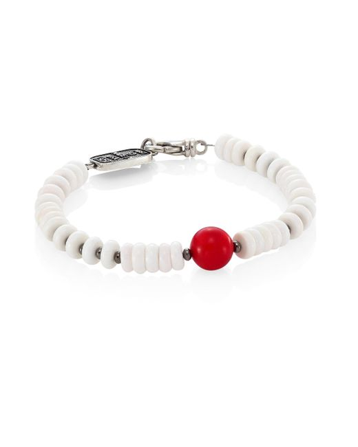 King Baby Studio - Sterling Silver, Round Red Coral & White Shell Bead Bracelet - Lyst