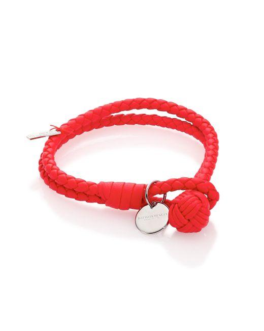Bottega Veneta - Red Intrecciato Leather Double-row Wrap Bracelet - Lyst