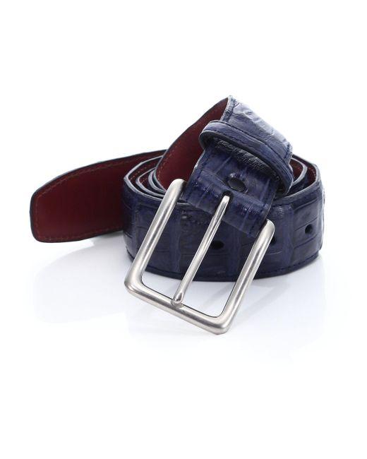 Saks Fifth Avenue - Blue Caiman Crocodile Belt for Men - Lyst