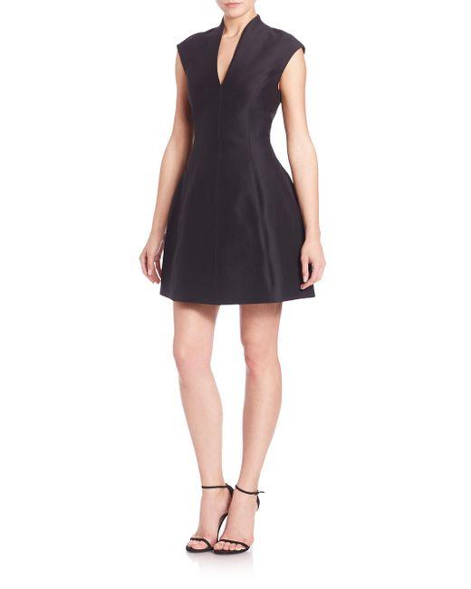 Halston Heritage | Black Cotton-silk Structured Dress | Lyst