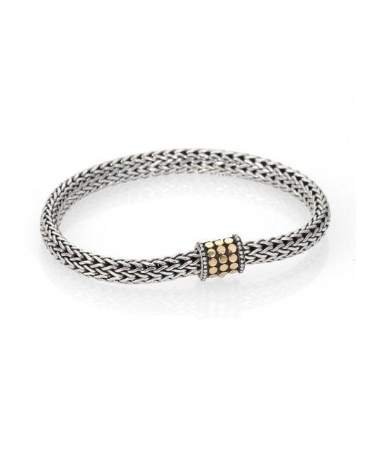 John Hardy - Metallic Dot 18k Yellow Gold & Sterling Silver Chain Bracelet - Lyst