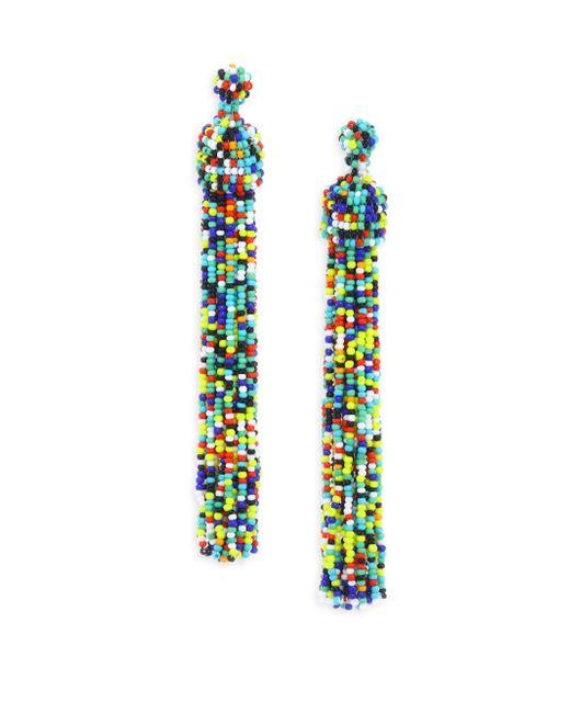 Kenneth Jay Lane | Multicolor Beaded Tassel Earrings | Lyst