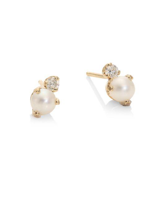 Zoe Chicco - Metallic White Diamond, 4mm Round White Freshwater Pearl, & 14k Yellow Gold Stud Earrings - Lyst