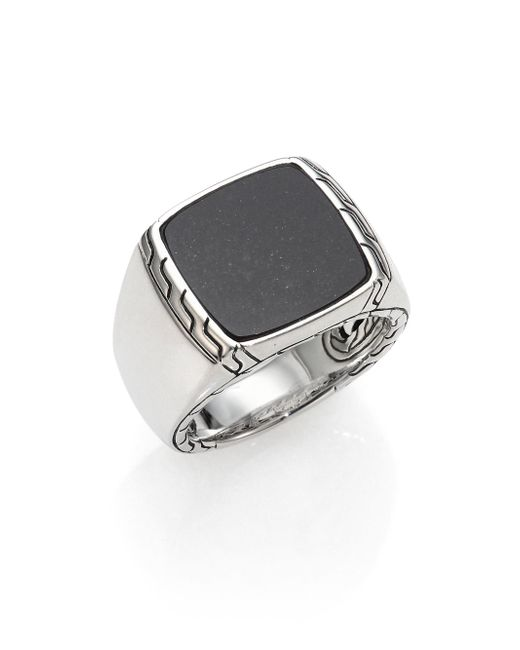 John Hardy | Black Lapis & Sterling Silver Batu Ring for Men | Lyst