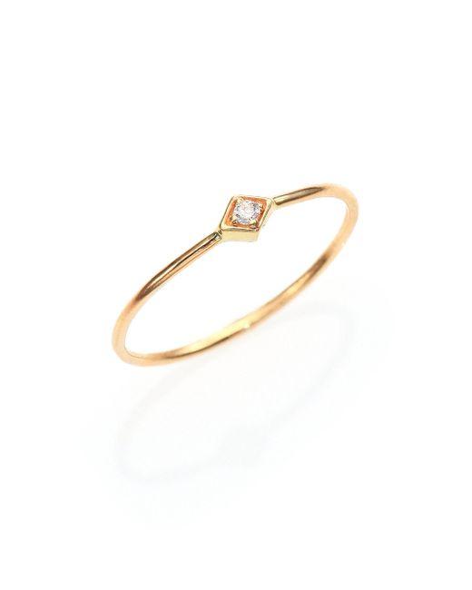 Zoe Chicco - Metallic Diamond & 14k Yellow Gold Midi Ring - Lyst