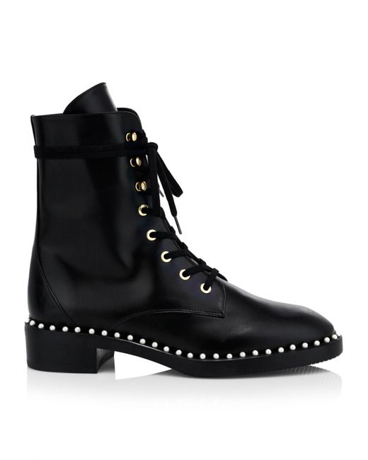Stuart Weitzman Black Sondra Faux Pearl-embellished Leather Ankle Boots
