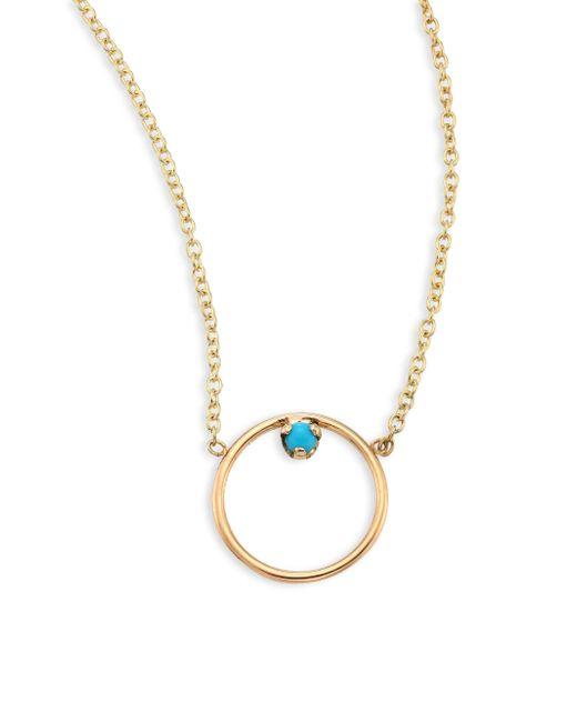 Zoe Chicco - Metallic Medium Circle Turquouise & 14k Yellow Gold Pendant Necklace - Lyst