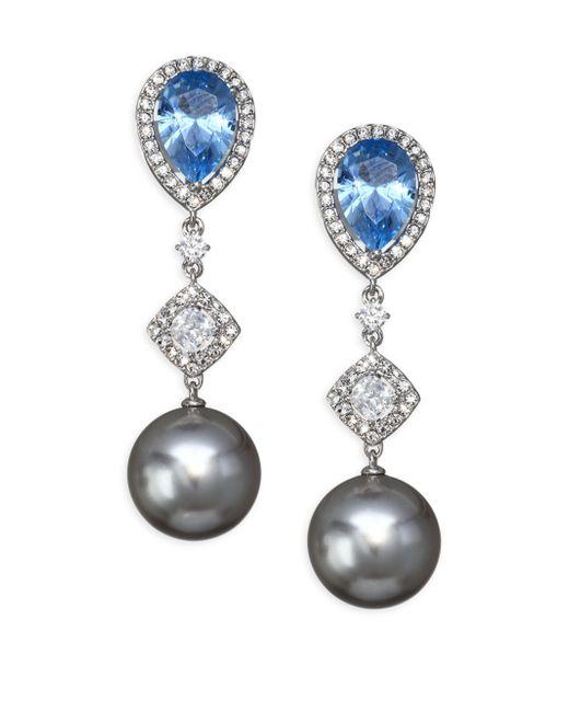 Adriana Orsini - Metallic Aqua Swarovski Pearl Drop Earrings - Lyst