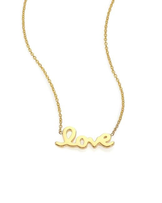 Roberto Coin - Metallic Tiny Treasures 18k Yellow Gold Love Letter Necklace - Lyst