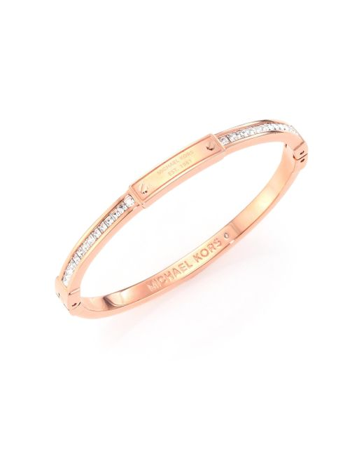 Michael Kors | Metallic Brilliance Astor Pave Bangle Bracelet/rose Goldtone | Lyst