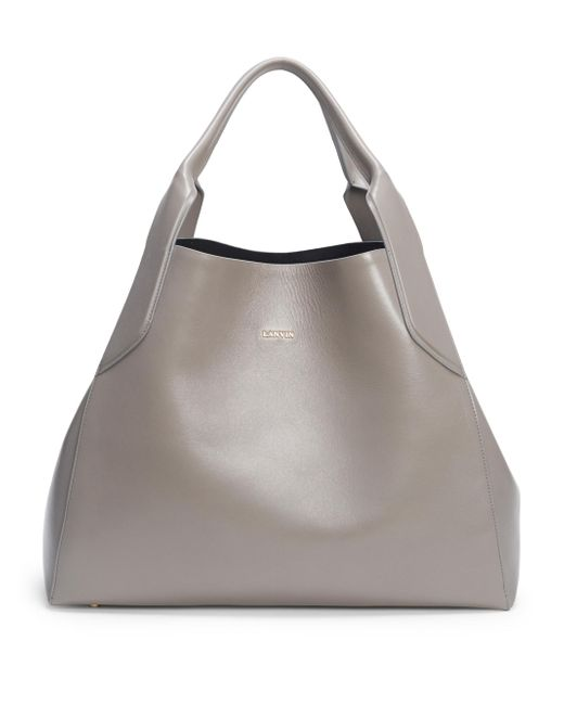 Lanvin | Gray Structured Leather Tote | Lyst