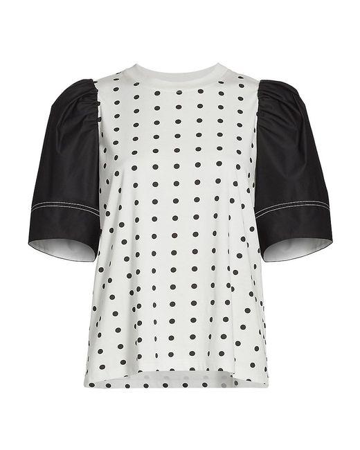 Tanya Taylor Black Elle Puff-sleeve Polka Dot T-shirt