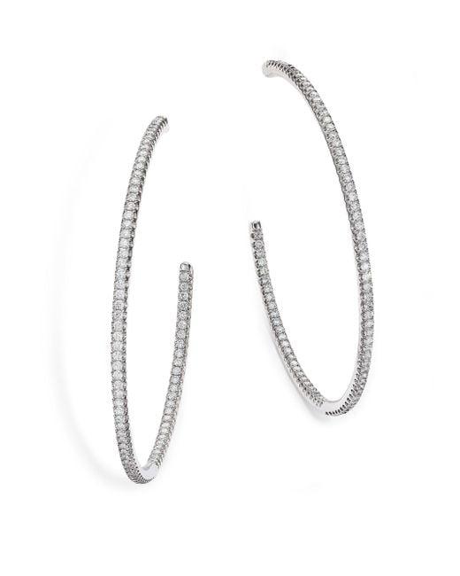 De Beers - Classic Diamond & 18k White Gold Inside-outside Hoop Earrings/2 - Lyst