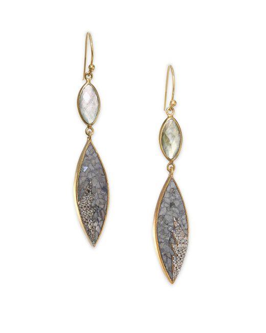 Shana Gulati - Metallic Rani Sukanya Sliced Raw Diamond & Labradorite Drop Earrings - Lyst